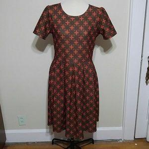 LuLaRoe orange and black fit and flare dress